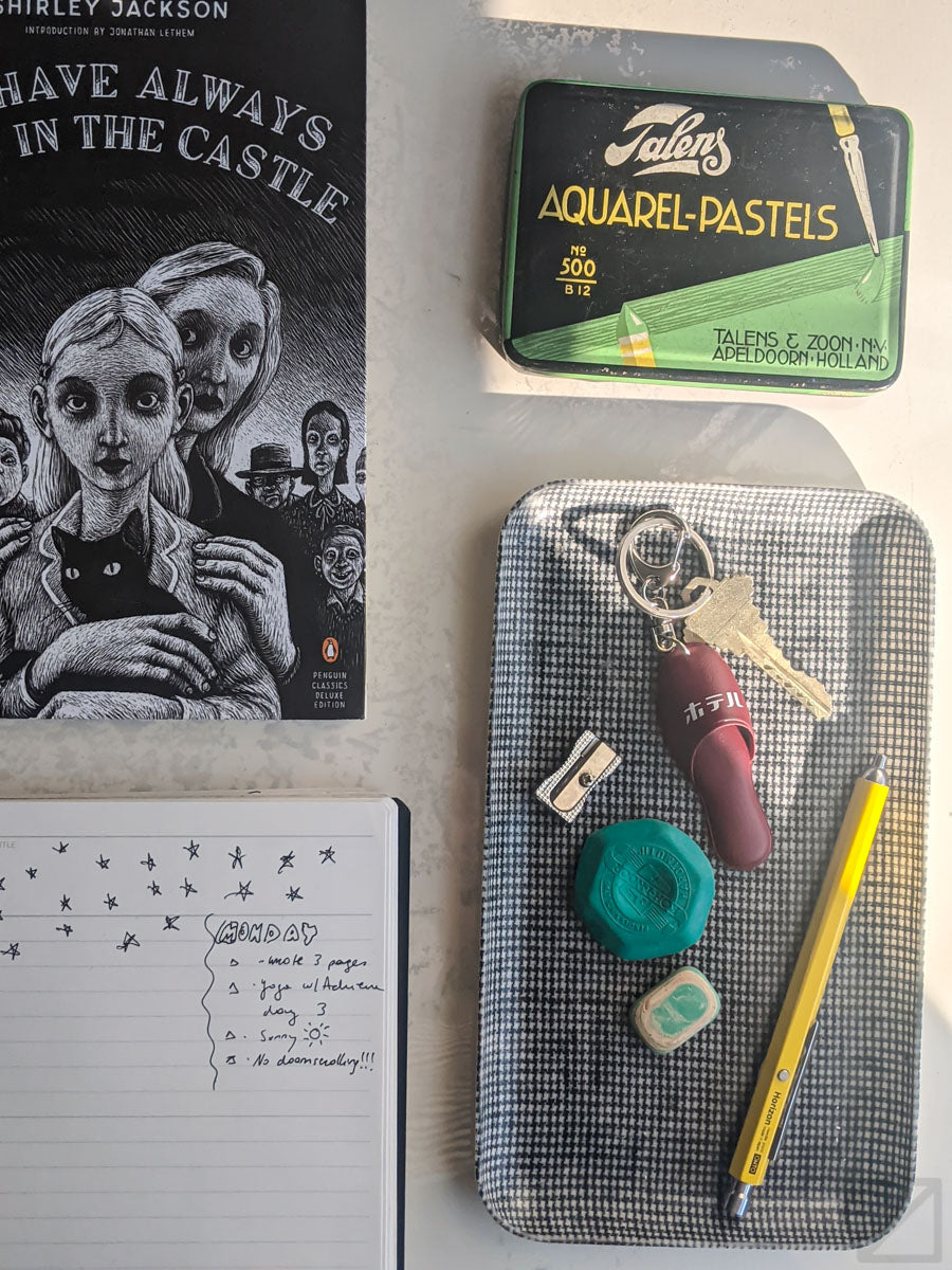 tray and books