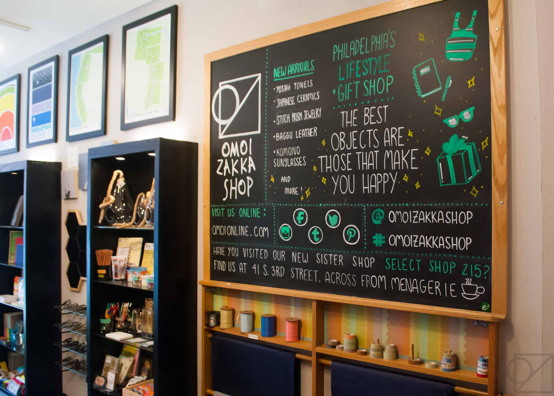 The chalkboard working hard to promote our socials, new arrivals, backstory, and shop announcements.
