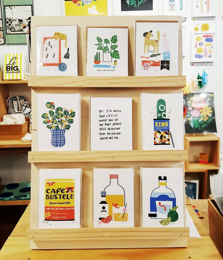 A selection of prints and greeting cards from a First Friday event with Lauren at our Old City shop