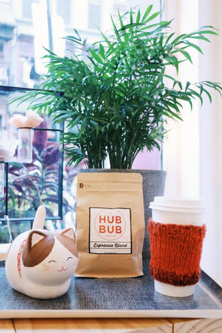 A solar powered calico cat figure sits next to a bag of HubBub Coffee espresso beans and a cute hand knit coffee koozie