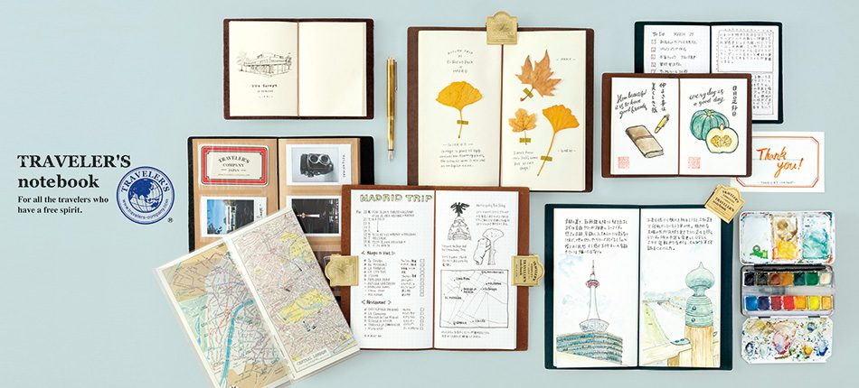 An enticing array of the new TRAVLER'S Company refill notebooks and accessories