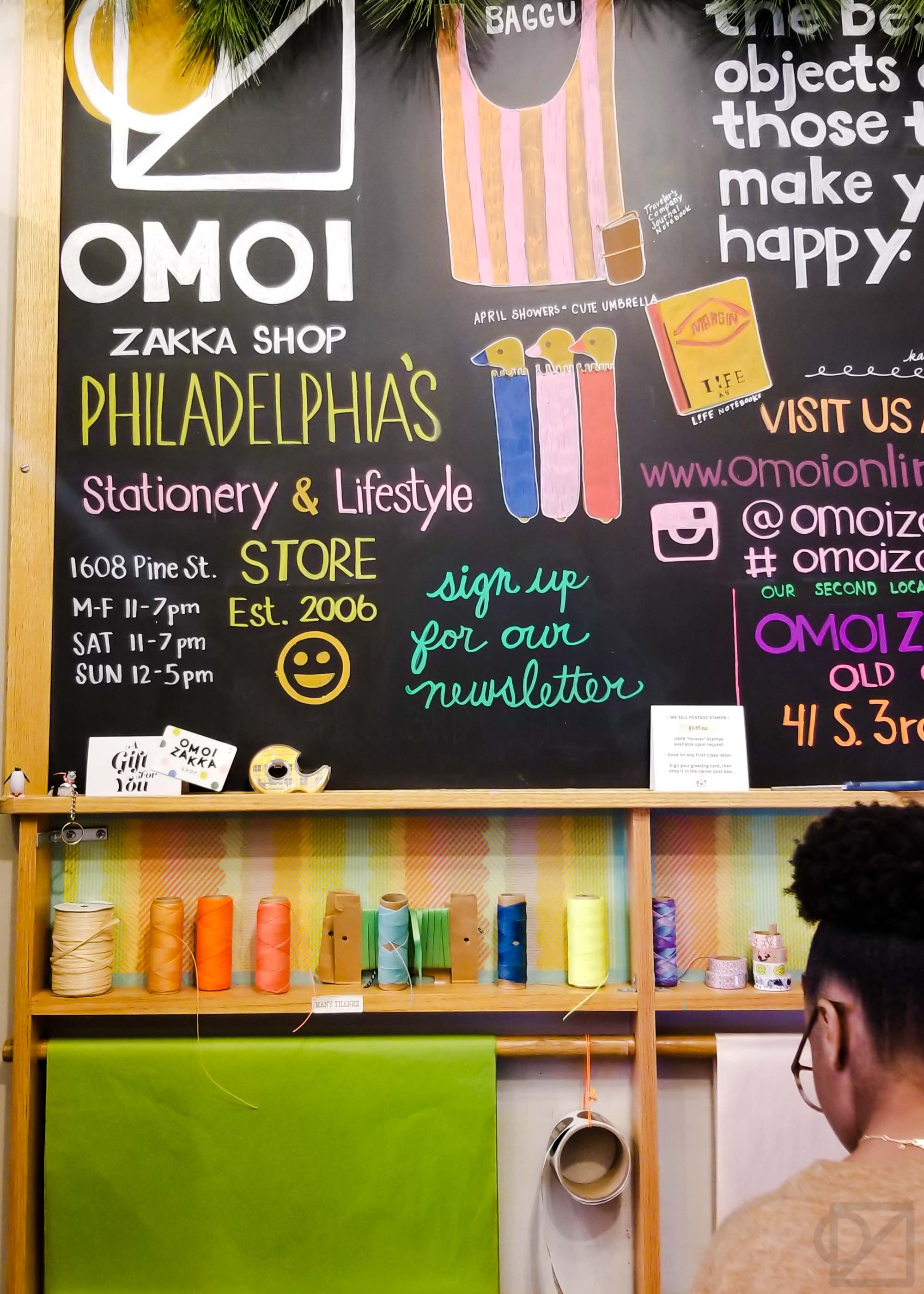 The big Pine Street chalkboard with a cameo from Samirah.