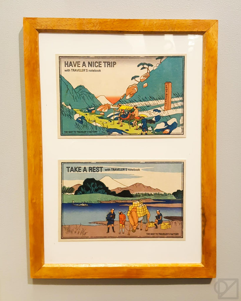 Framed TRC postcards on display at the Narita Airport TRF