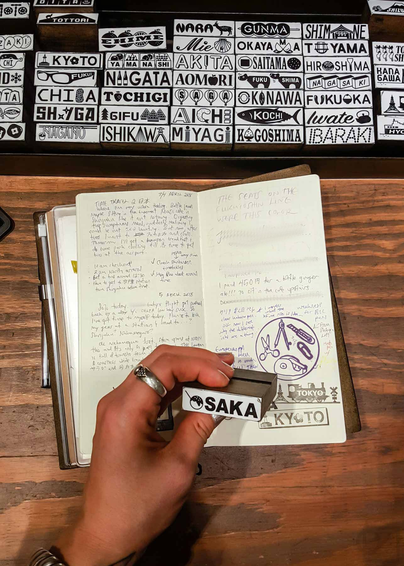 I stamped Tokyo, Kyoto, and Osaka in my journal at the Tokyo Station TRF, since I was visiting those three cities on my trip