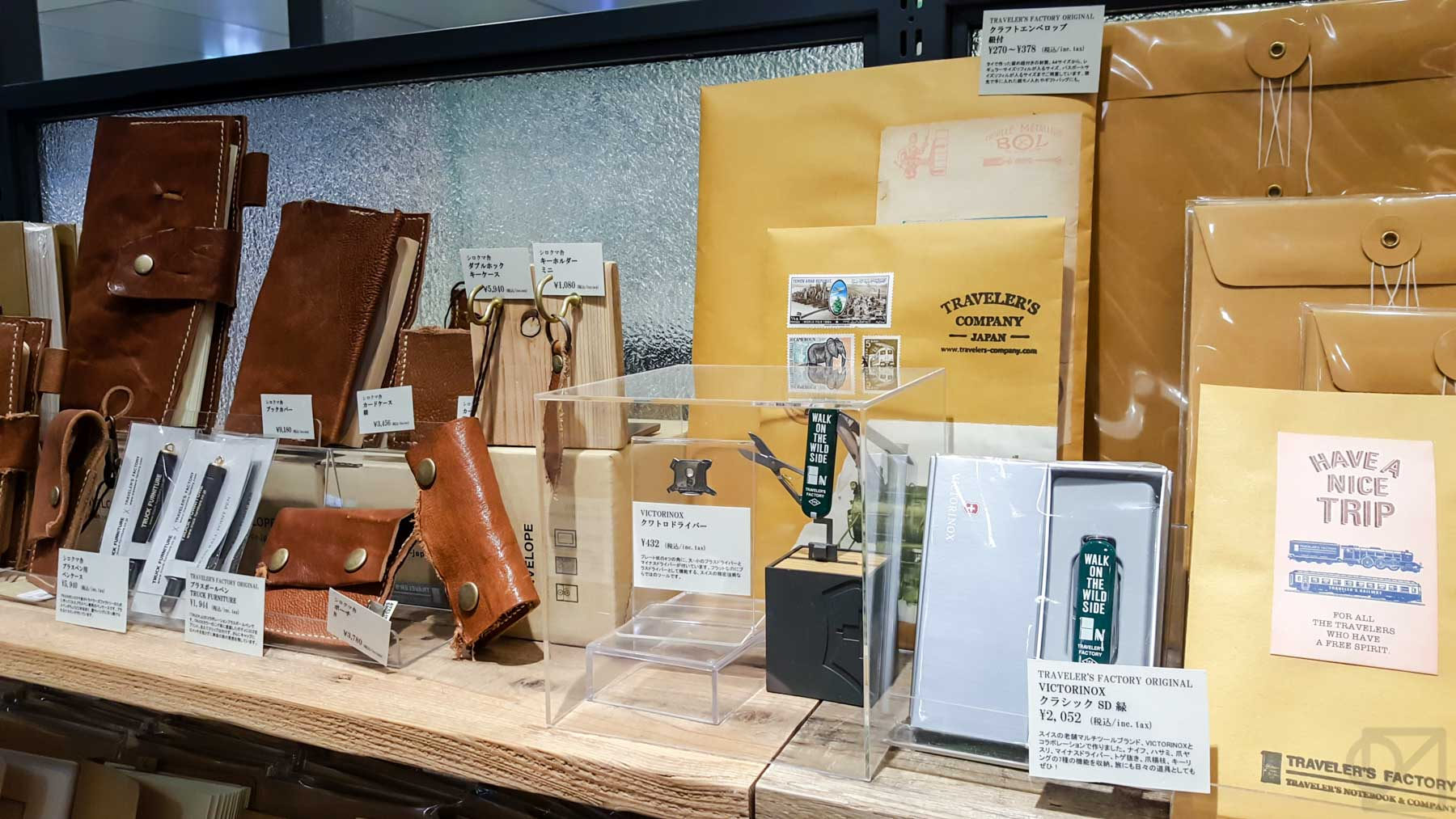 Just a sampling of the custom and collaboration TRAVELER'S goods on display at the Tokyo Station shop
