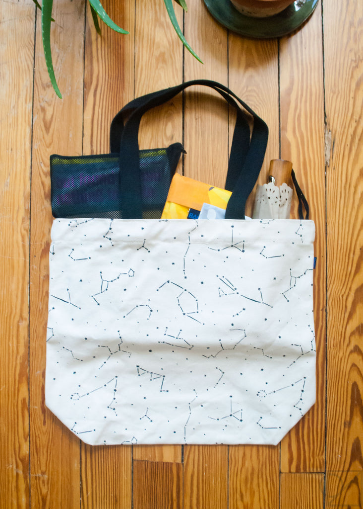 putting cute items in a baggu tote bag
