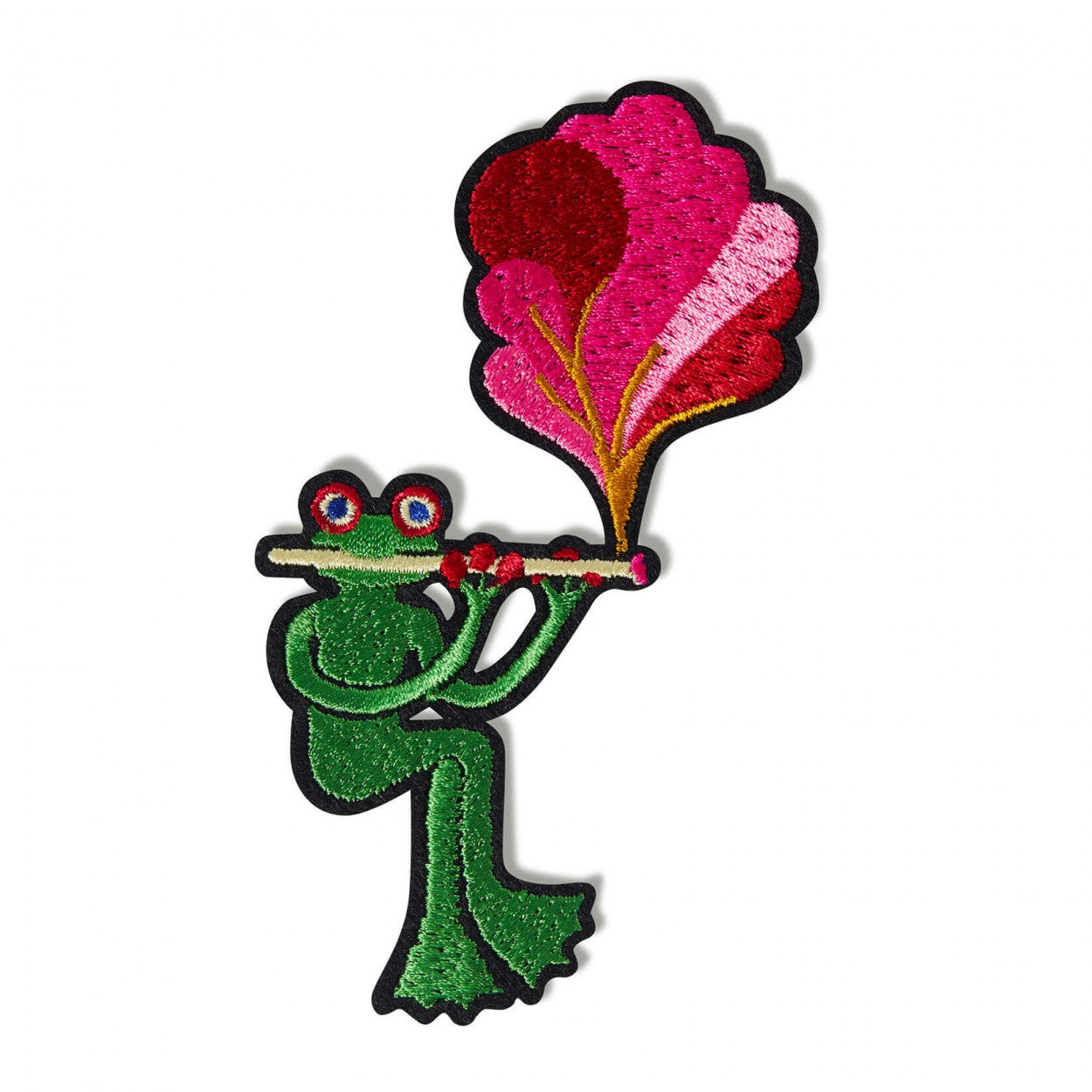 Macon & Lesquoy Hand Embroidered Patch Flute Toad