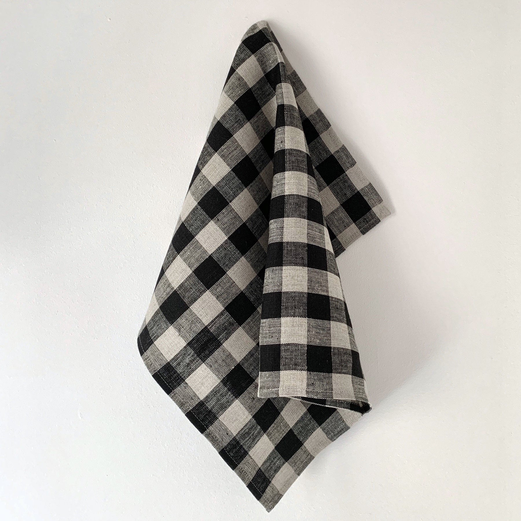 Fog Linen Work Thick Dishcloth Set in Natural Gingham
