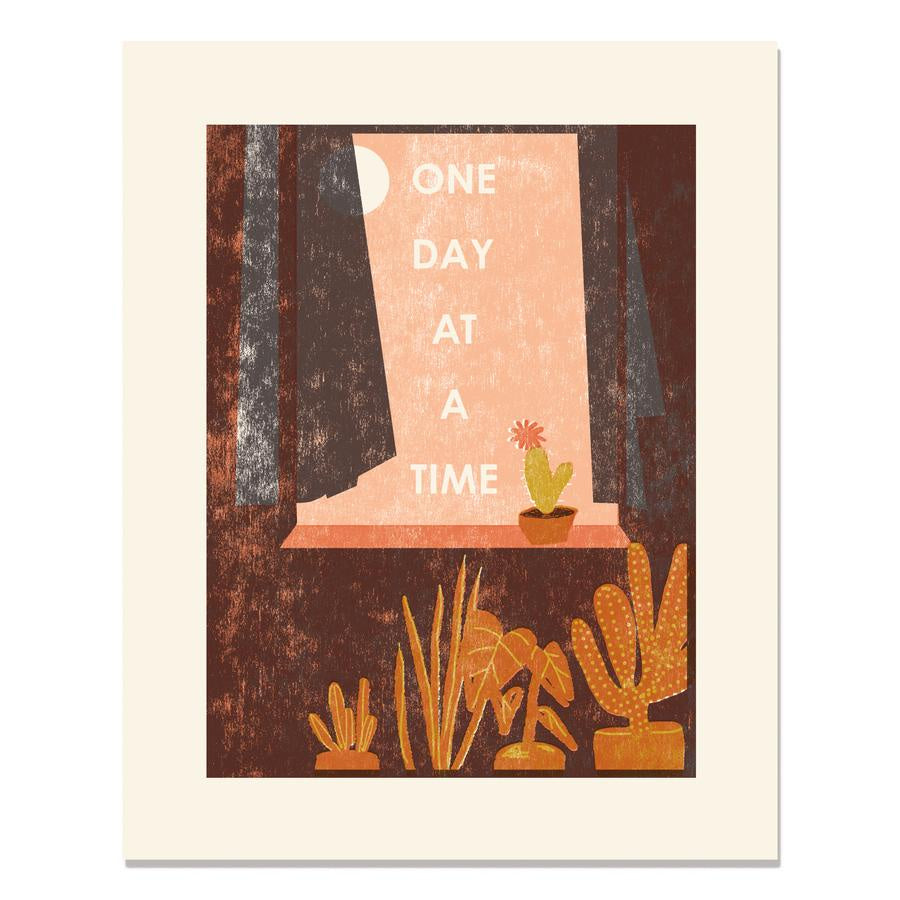 "One Day at a Time Letterpress Art Print 11""x14"""