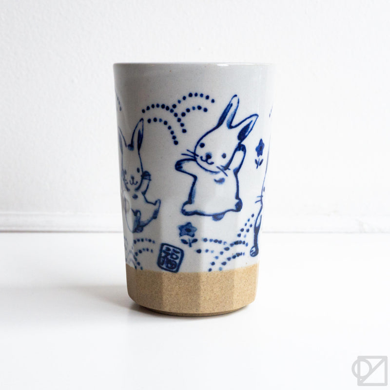 Ceramic Blue Rabbits Cup