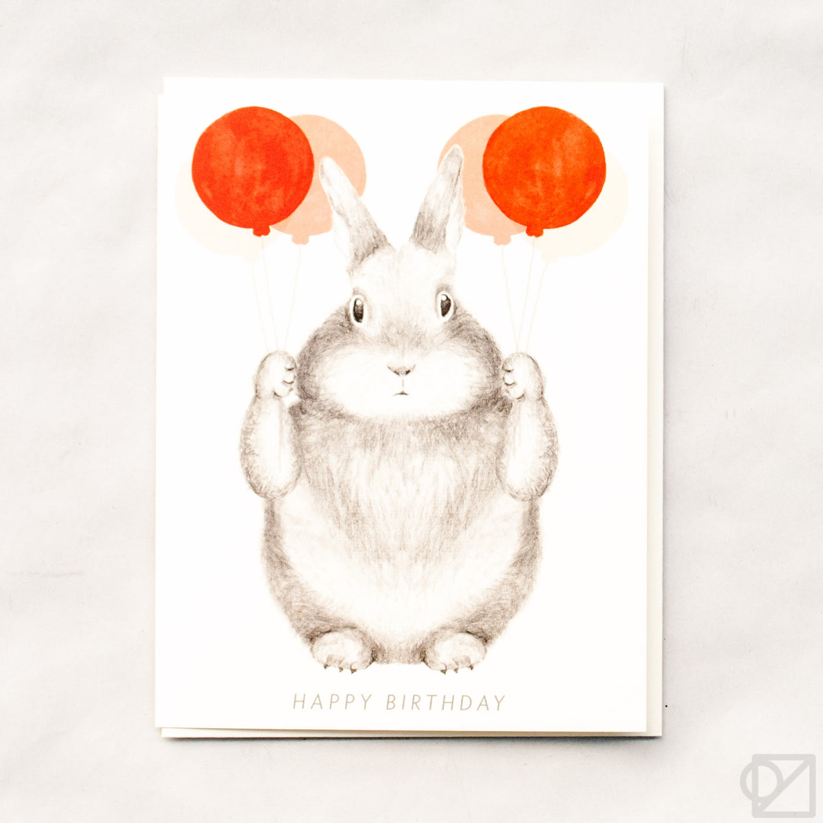 Bunny with Red Balloons Birthday Card