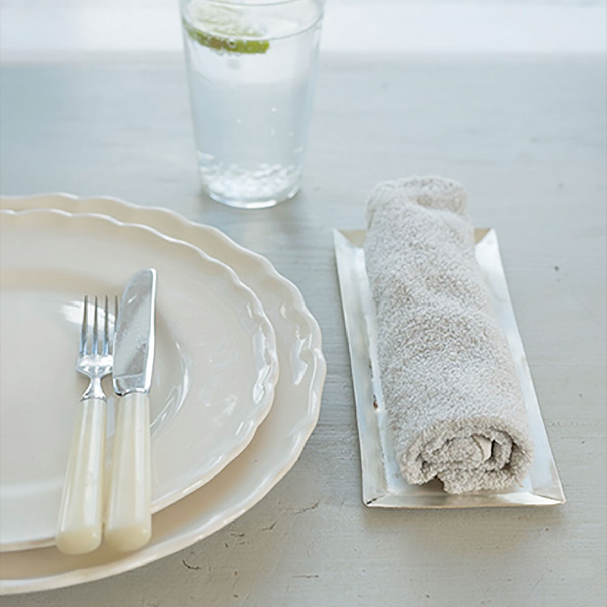 Fog Linen Work Silver-Plated Towel Tray