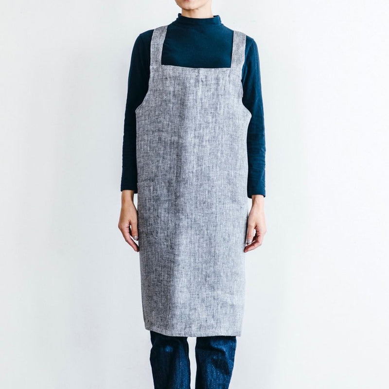 Fog Linen Work Cross Apron Herringbone