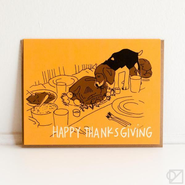Bad Dog Thanksgiving Greeting Card