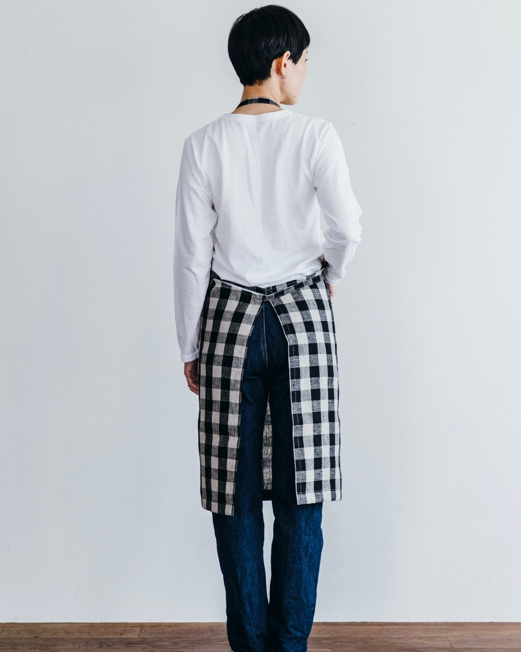 Fog Linen Work Daily Apron Black/Natural Check