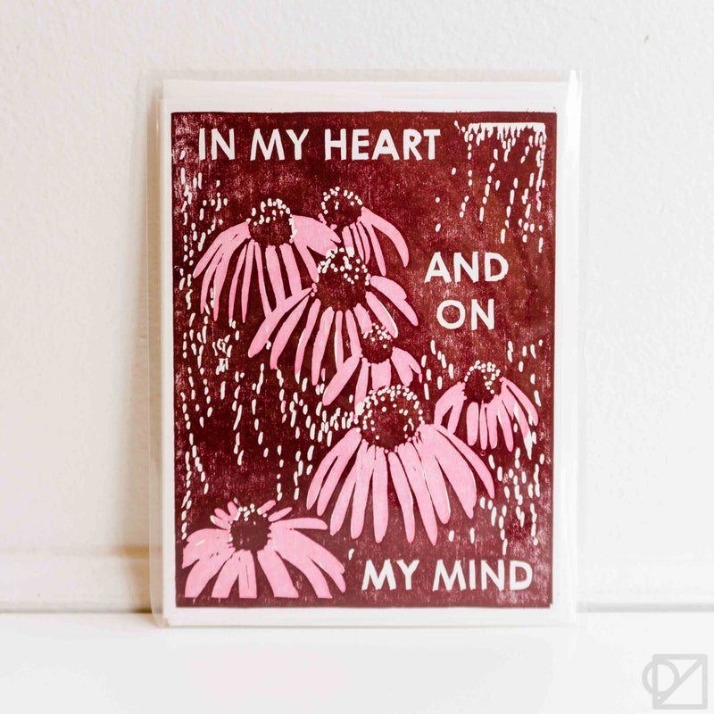 On My Mind Coneflowers Letterpress Card