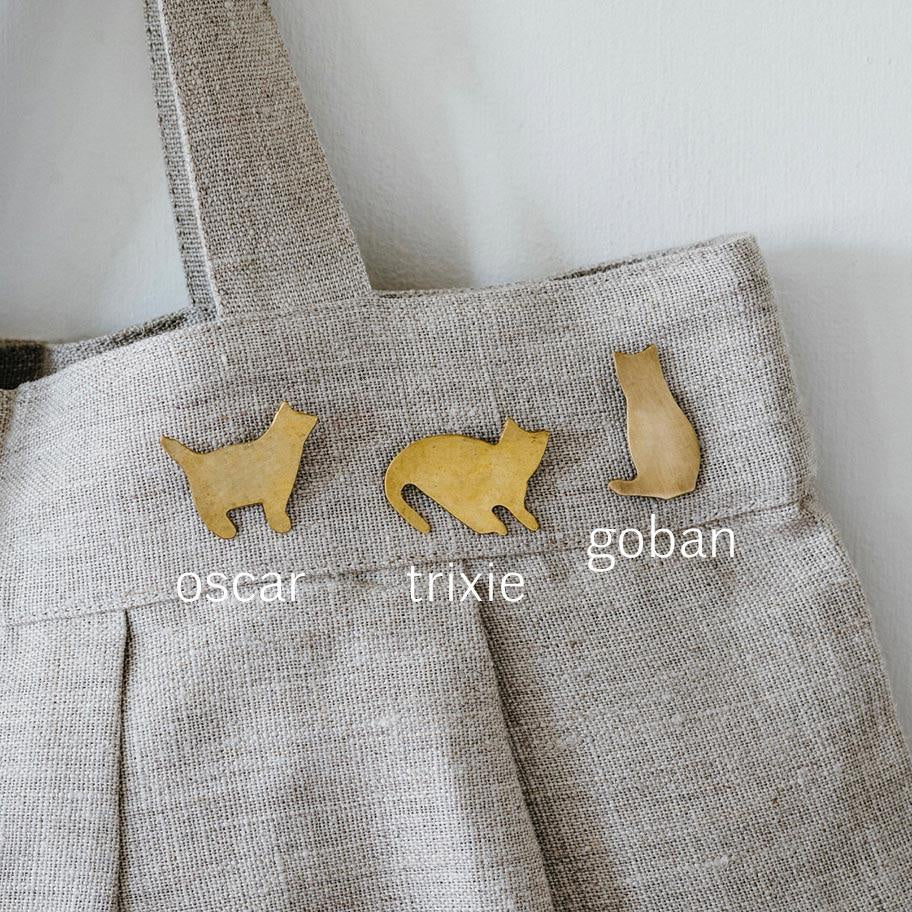 Fog Linen Work Brass Cat Brooches