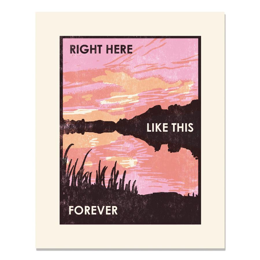 "Sunset Letterpress Art Print 11""x14"""