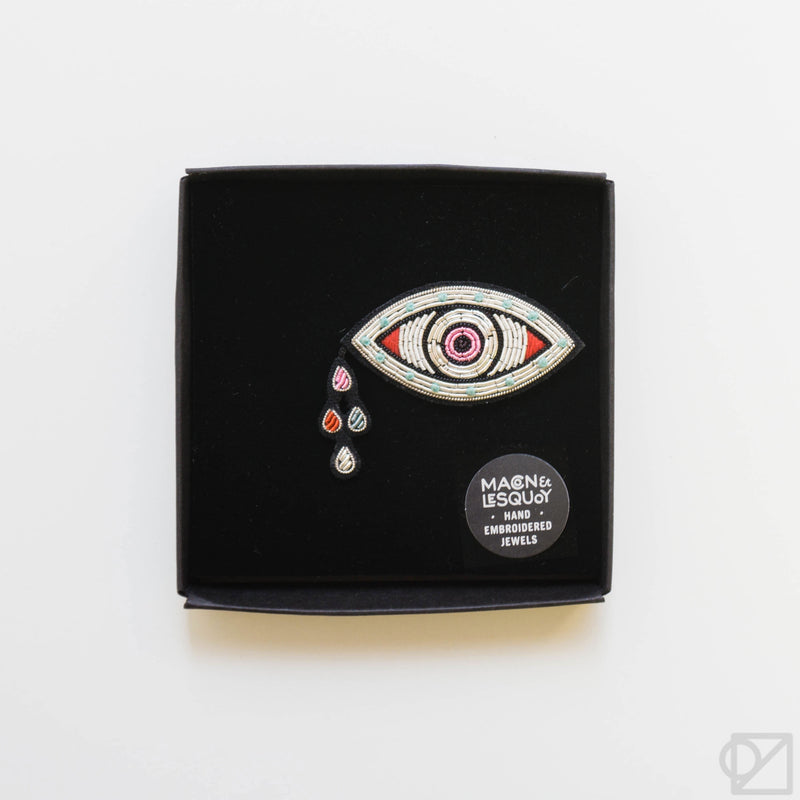 Macon & Lesquoy Crying Eye Hand Embroidered Pin