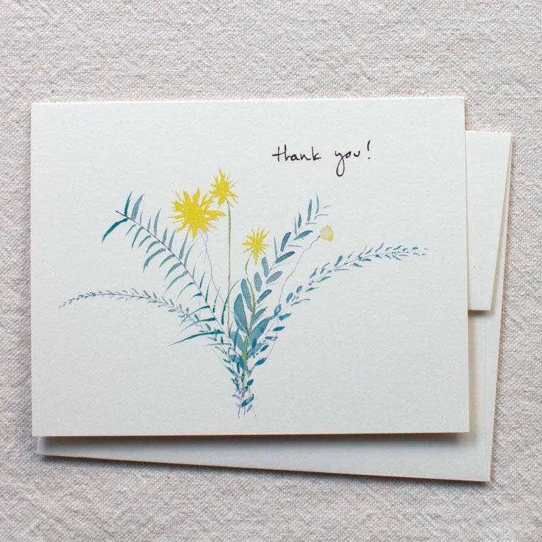Yellow & Blue Bouquet Thank You Card