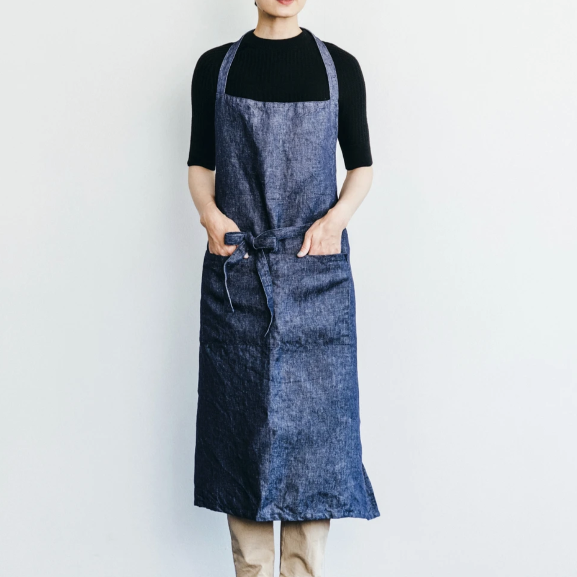 Fog Linen Work Atelier Apron Navy Denim