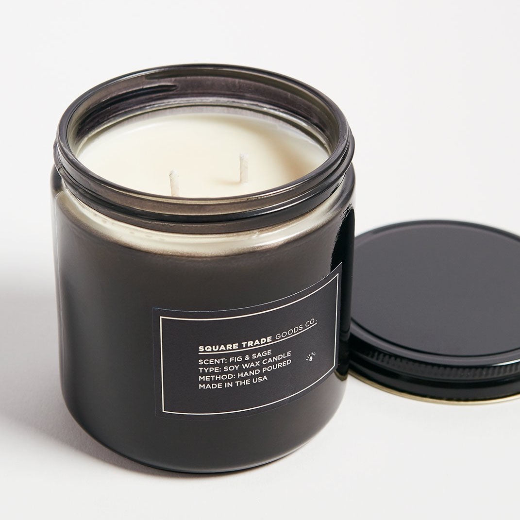 Square Trade Goods Co. Fig & Sage  Double Wick Candle