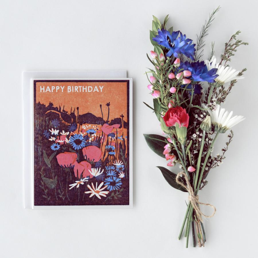 Happy Birthday Wildflowers Letterpress Card