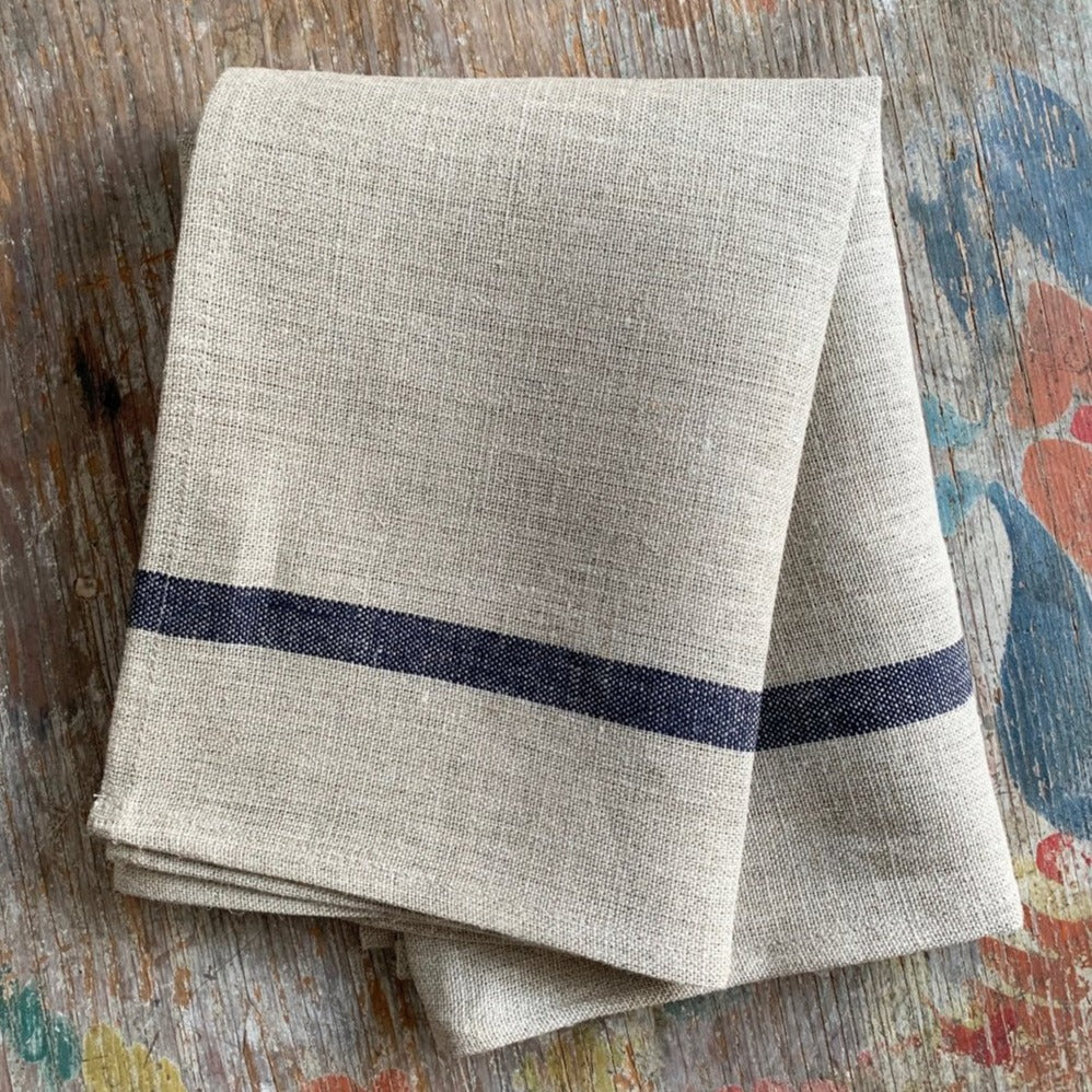 Fog Linen Work Thick Dish Cloth Natural with Navy Stripe | Set of 2