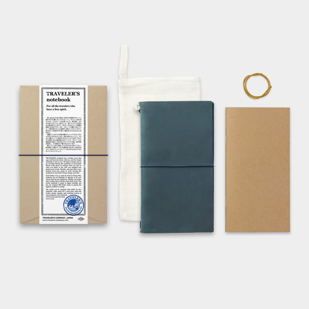 TRAVELER'S Company Leather Journal Starter Kit Blue