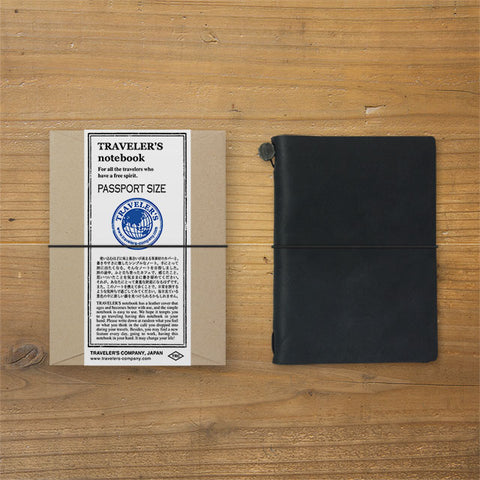 Midori TRAVELER'S Company Passport Leather Journal Starter Kit Black