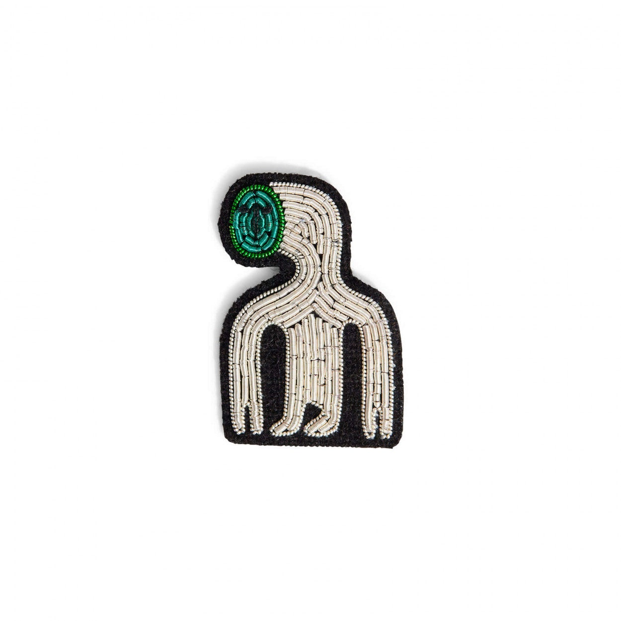 Macon & Lesquoy Hand Embroidered Pin Green Extraterrestrial