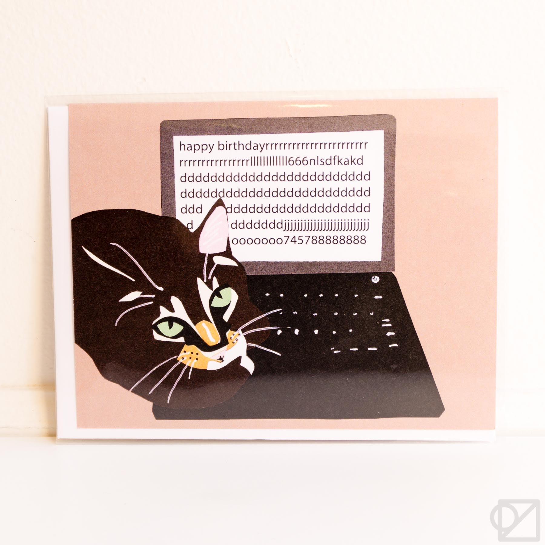 Cat on Keyboard Birthday Greeting Card