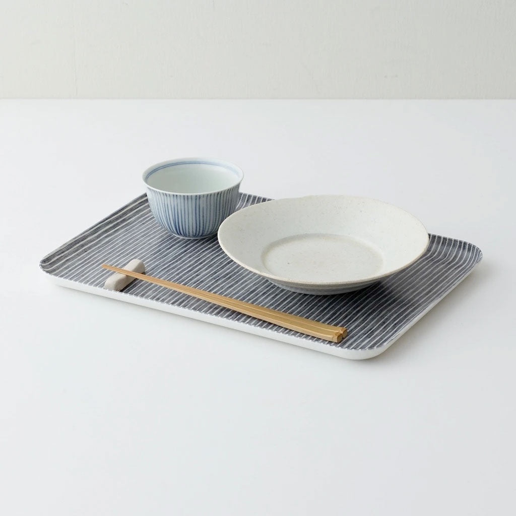 Fog Linen Work Coated Trays Grey White Stripe