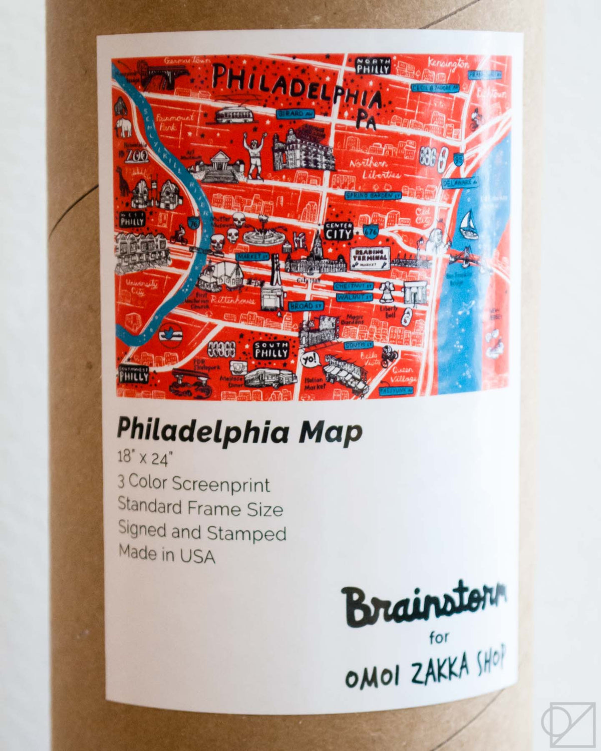 Brainstorm x Omoi Zakka Shop Philadelphia Map comes in this easy to ship and store tube