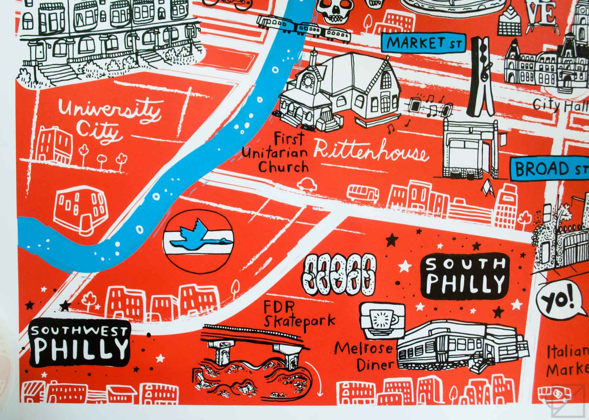 Brainstorm x OZS Philadelphia Map | Silkscreen Print