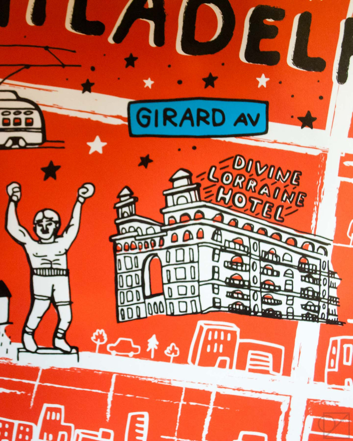 The Divine Lorraine Hotel and Rocky Statue on Brainstorm x Omoi Zakka Shop Philadelphia Map