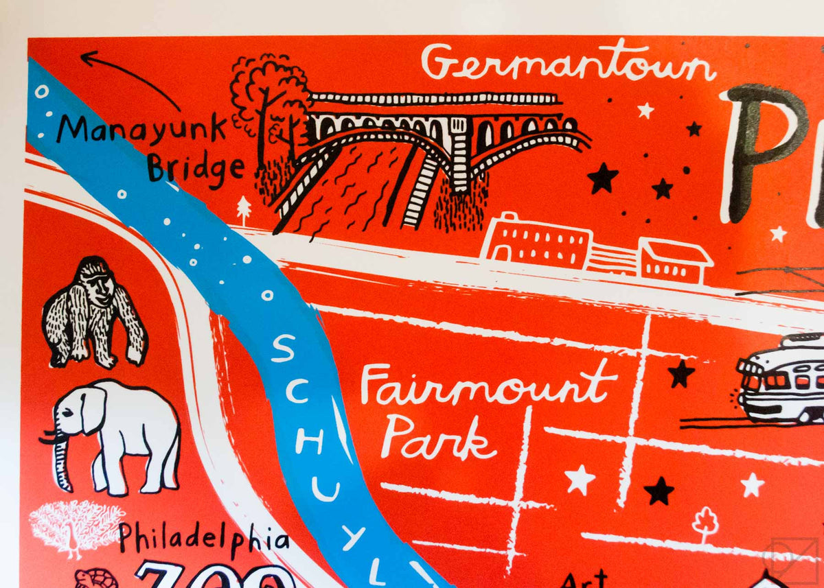 The Manayunk Bridge on Brainstorm x Omoi Zakka Shop Philadelphia Map