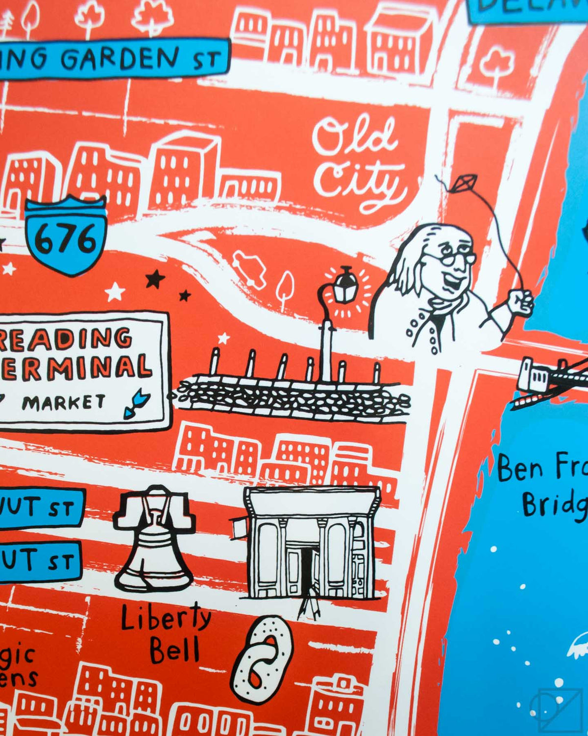 The Liberty Bell, Old City, and Ben Franklin on Brainstorm x Omoi Zakka Shop Philadelphia Map