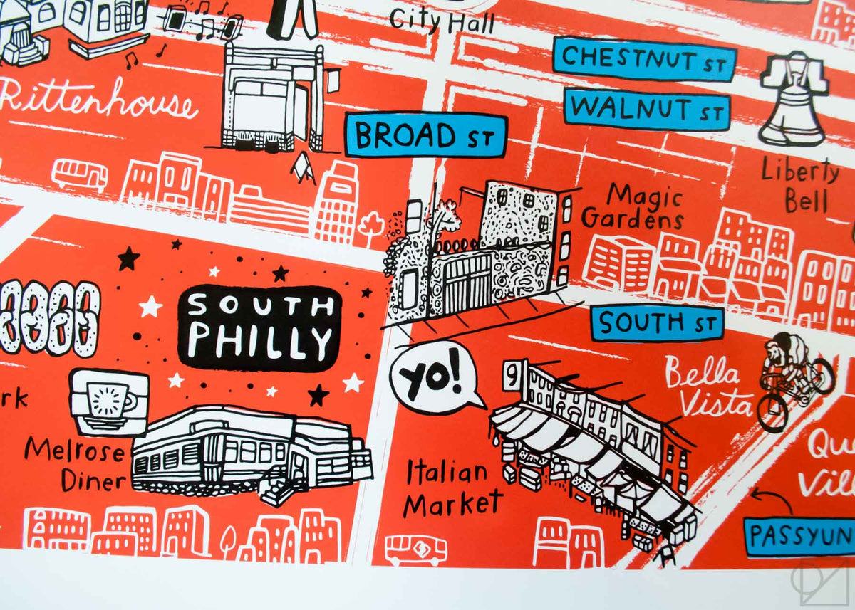 Melrose Diner and Italian Market on Brainstorm x Omoi Zakka Shop Philadelphia Map