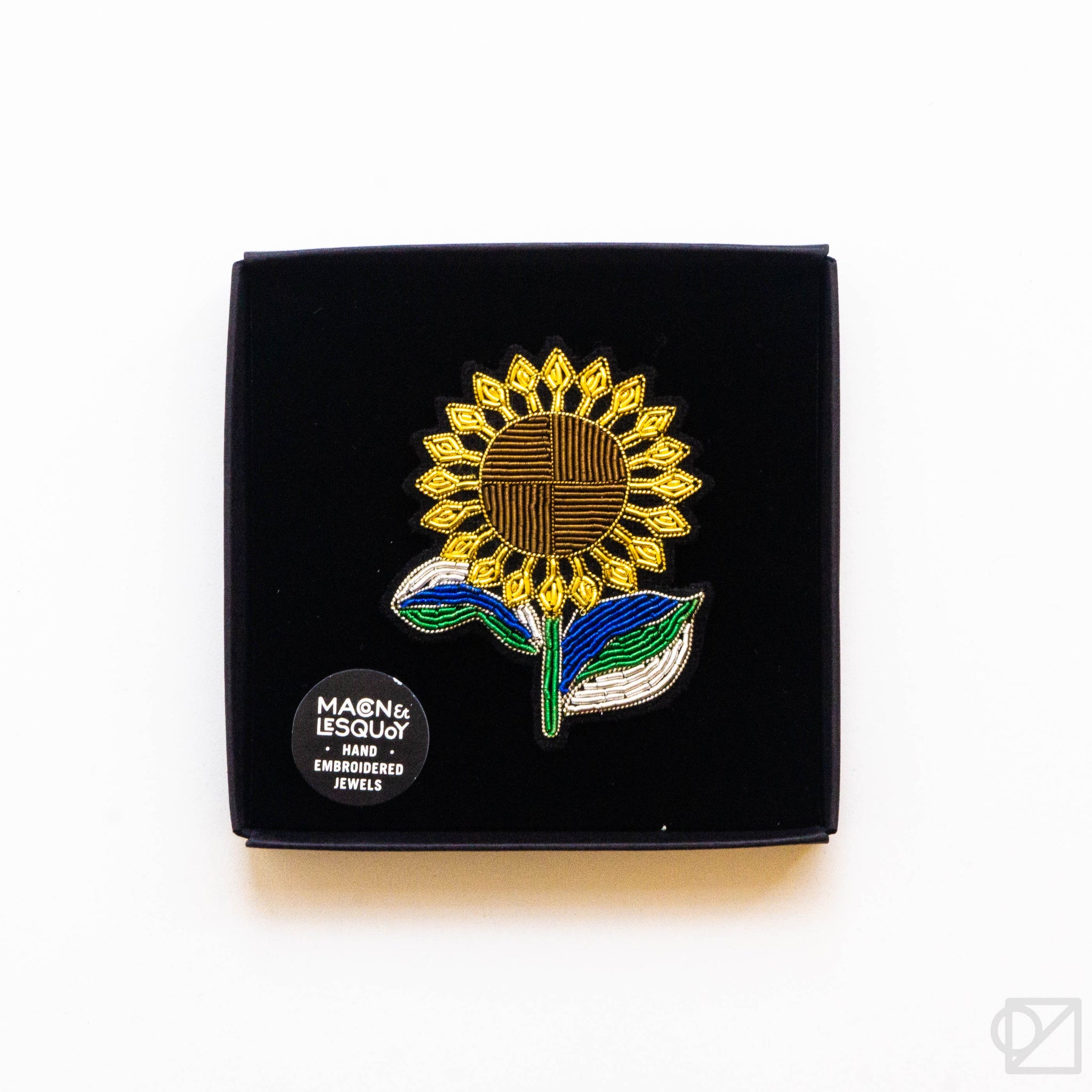 Macon & Lesquoy Sunflower Hand Embroidered Pin