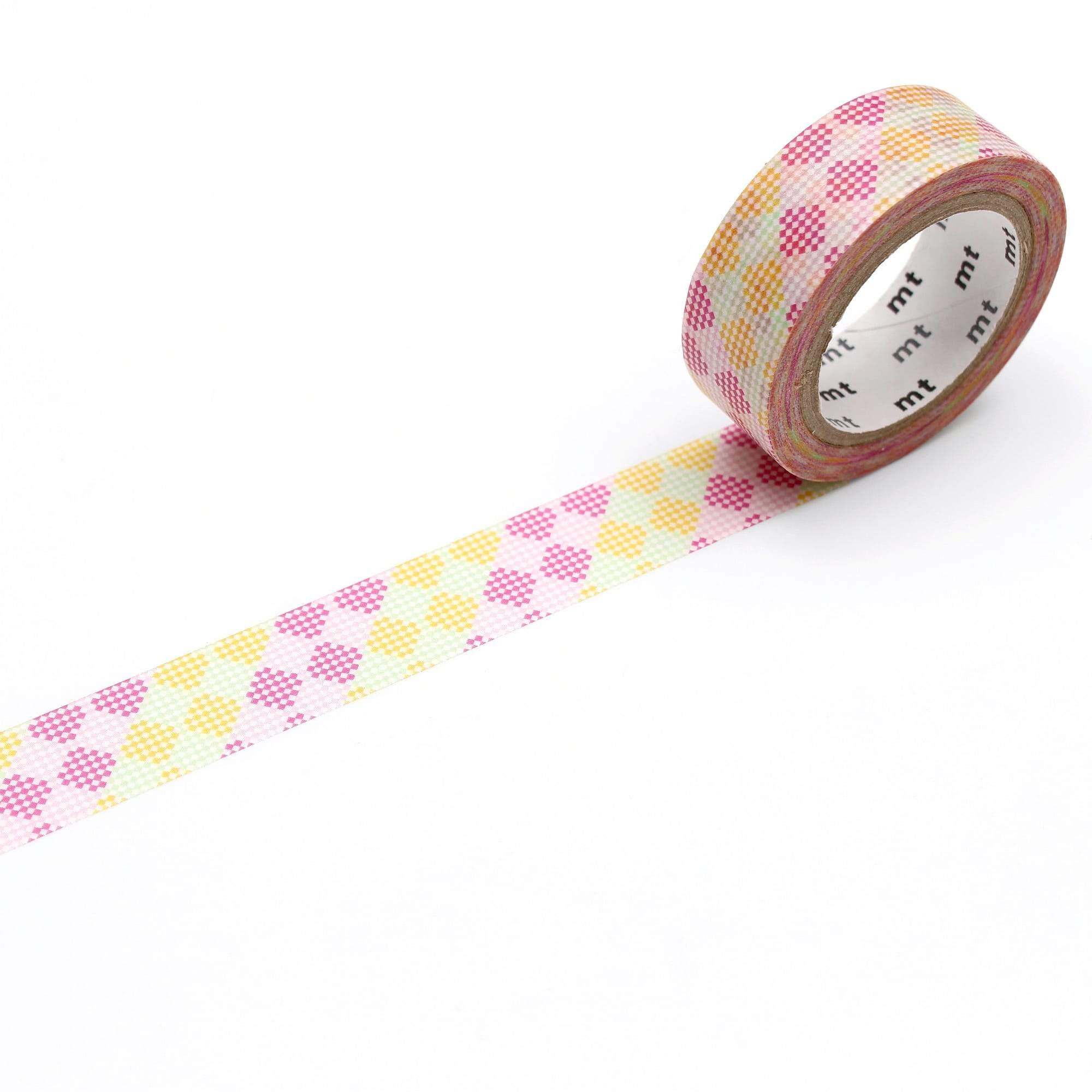 mt Washi Tape Pink Checkers Stripe