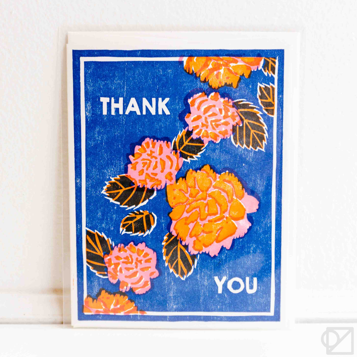Thank You Red Peonies Letterpress Card