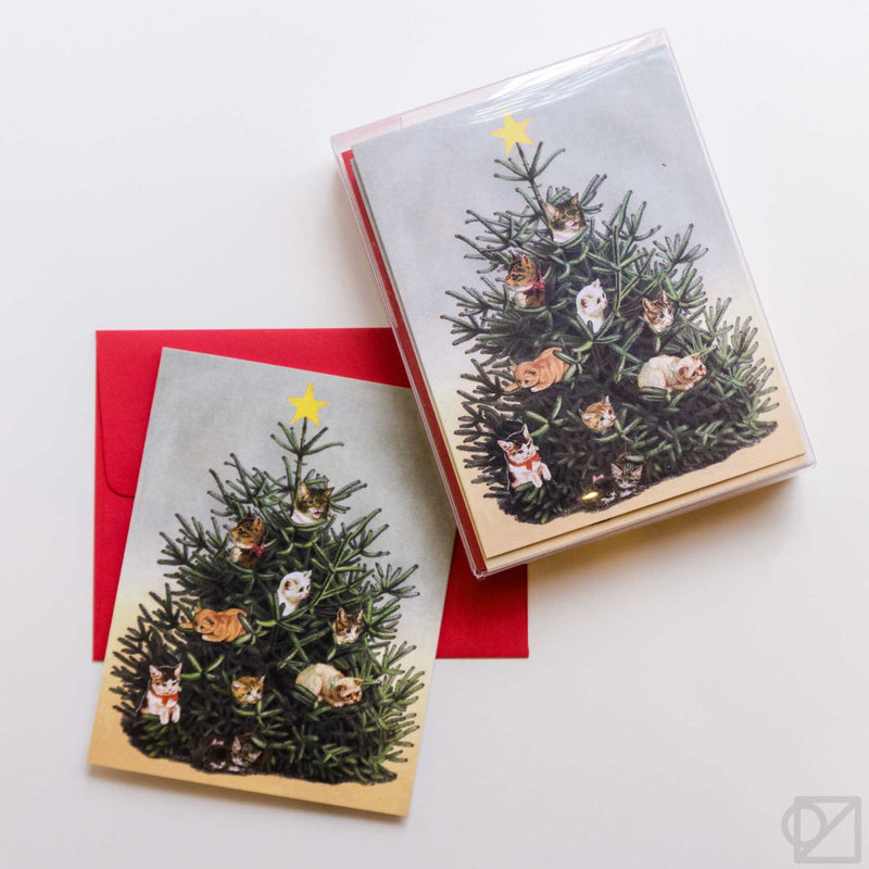 Cat Christmas Tree Card Box Set