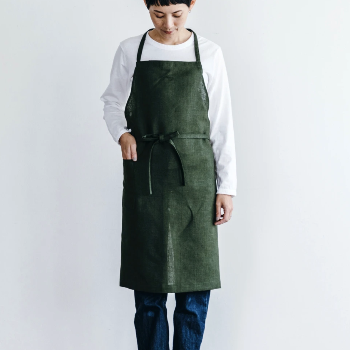 Fog Linen Work Daily Apron Laurel