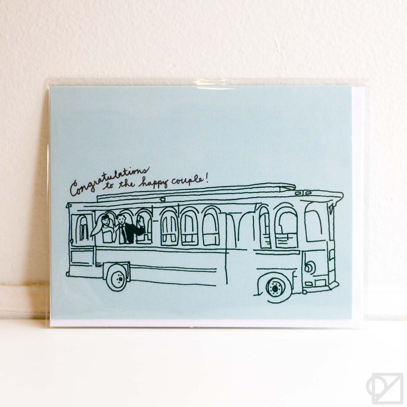 Trolley Wedding Card