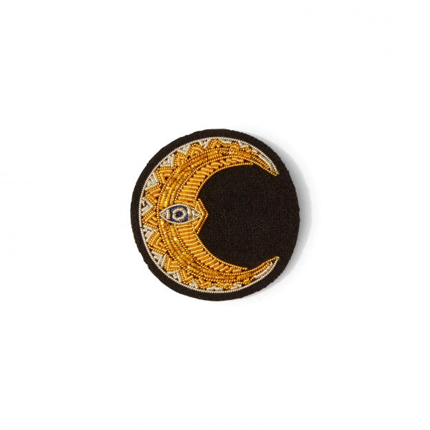 Macon & Lesquoy Hand Embroidered Pin Crescent Moon
