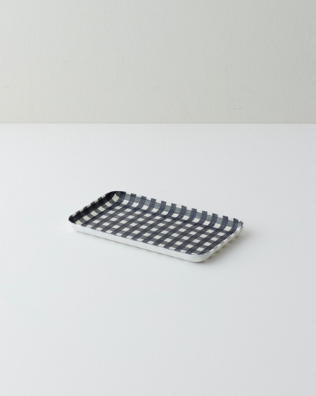 Fog Linen Work Coated Trays Navy White Gingham
