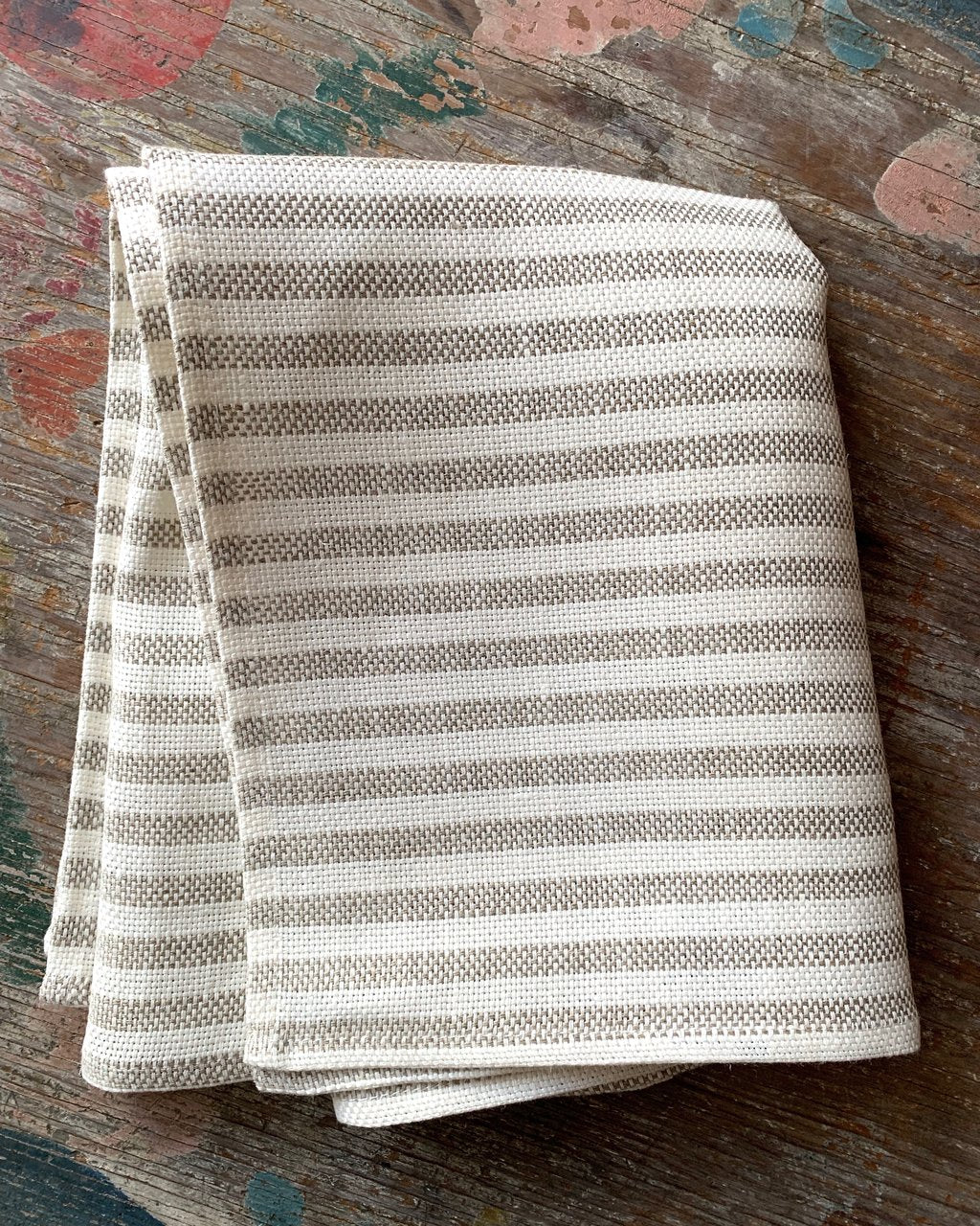 Fog Linen Work Dish Cloth Thick Chambray Natural Stripe | Set of 2