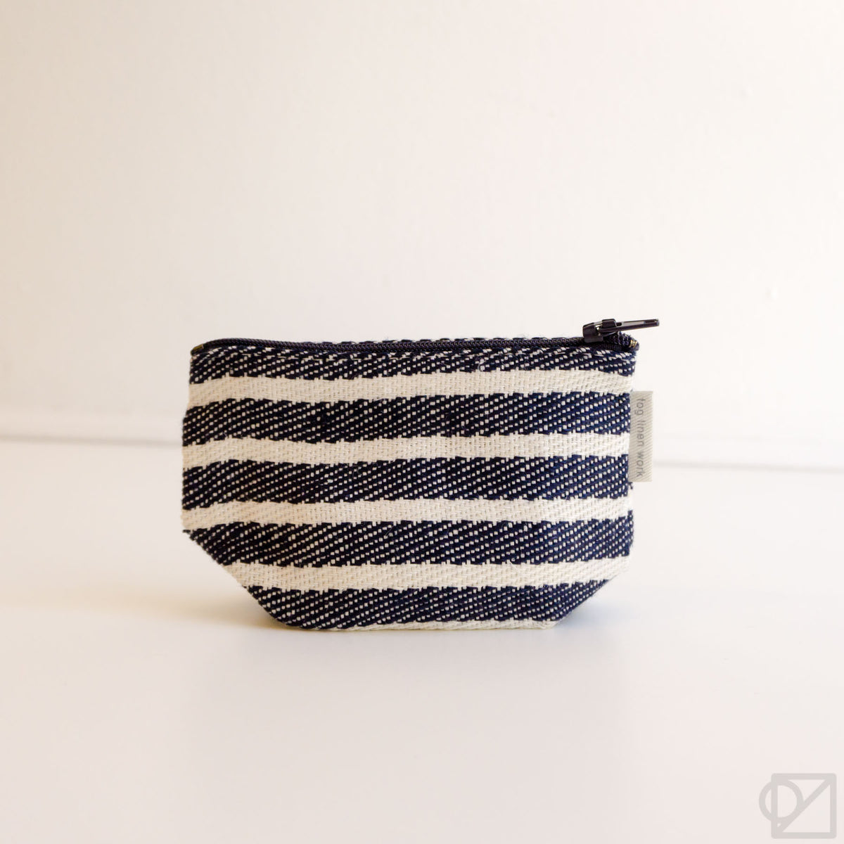 Fog Linen Work Tim Pouch Navy Border