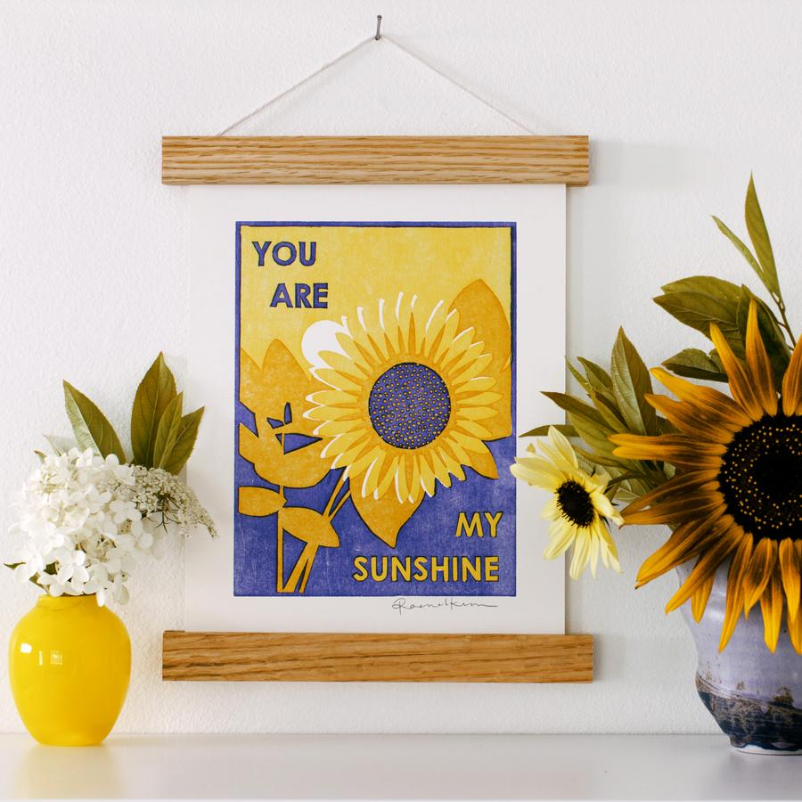 "Sunflowers Letterpress Art Print 11""x14"""